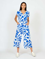 Playsuit Blue Palm Fronds Print