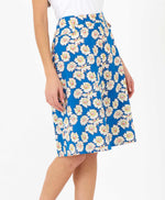 pretty vacant sherry skirt in blue daisy print - knee length - side