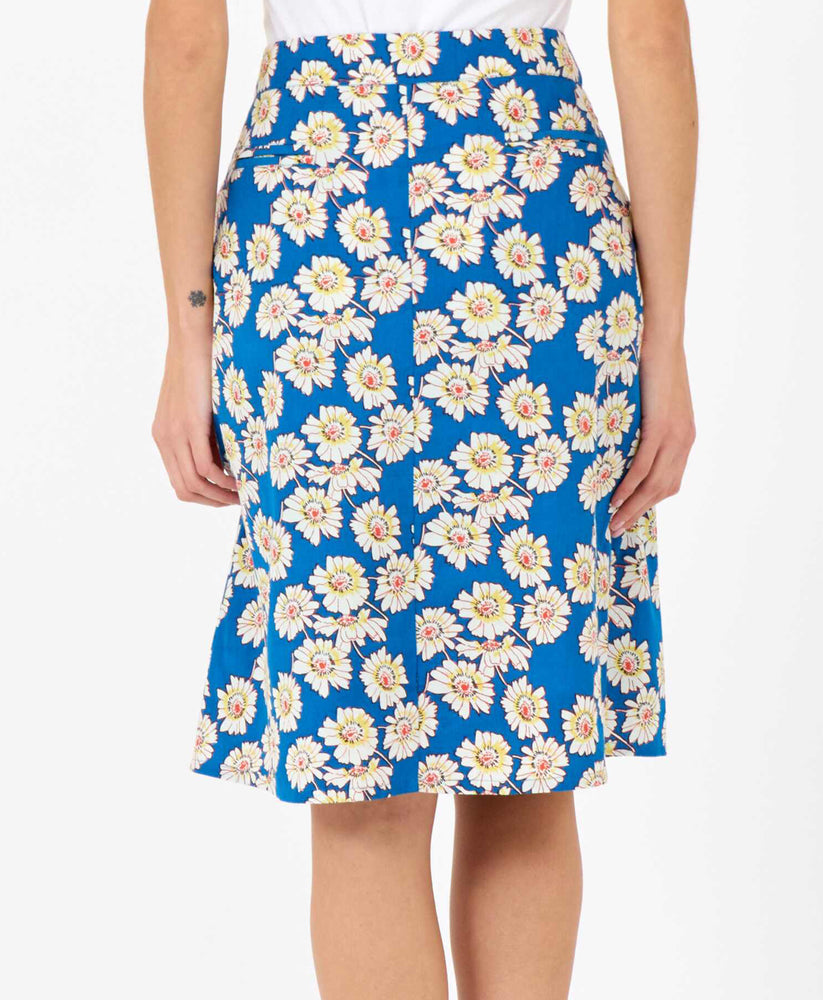 pretty vacant sherry skirt in blue daisy print - knee length - back 2