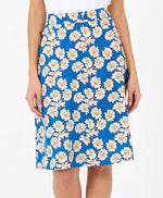 pretty vacant sherry skirt in blue daisy print - knee length - front