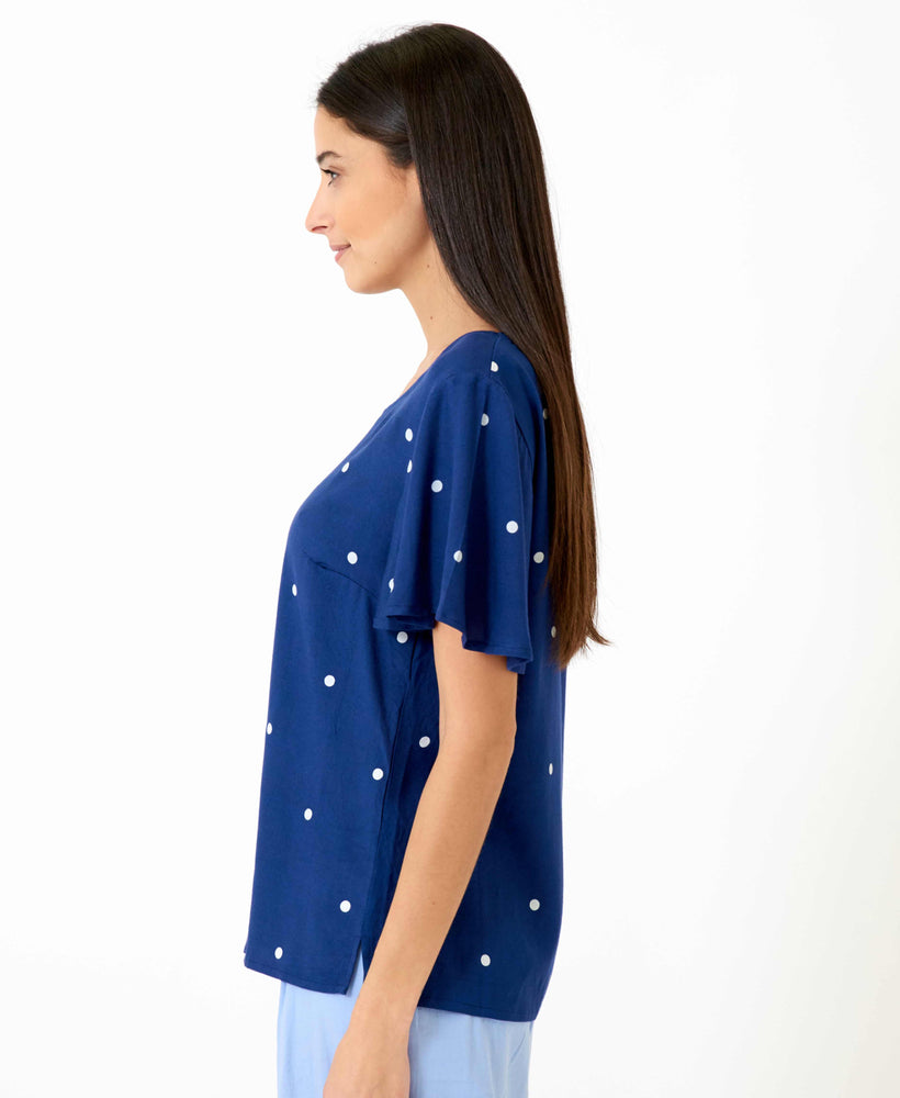 pretty vacant shirley polka dot blouse in navy blue - side 2