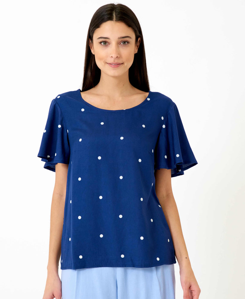 pretty vacant shirley polka dot blouse in navy blue - front