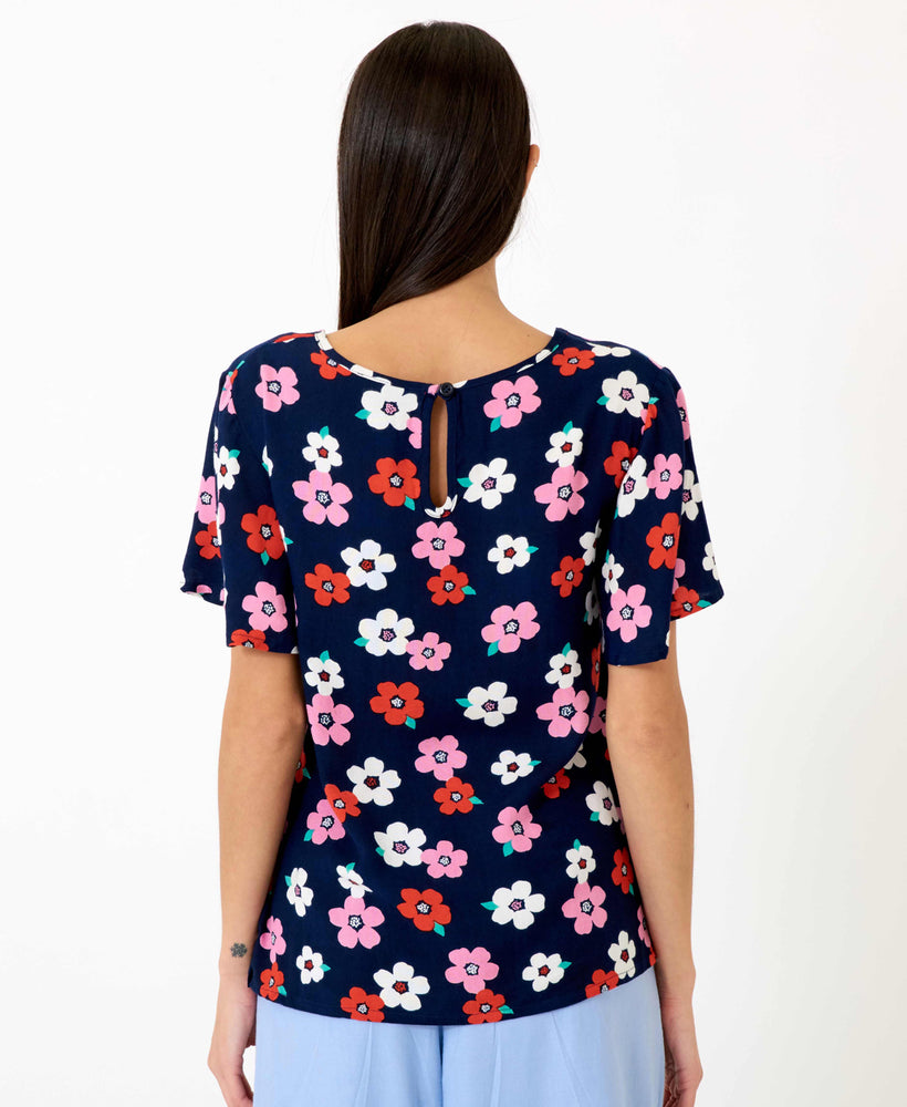 pretty vacant shirley floral shirt - blue navy blouse with flowers, short sleeve - back