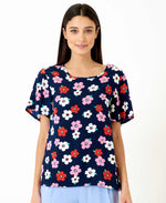 pretty vacant shirley floral shirt - blue navy blouse with flowers, short sleeve - front