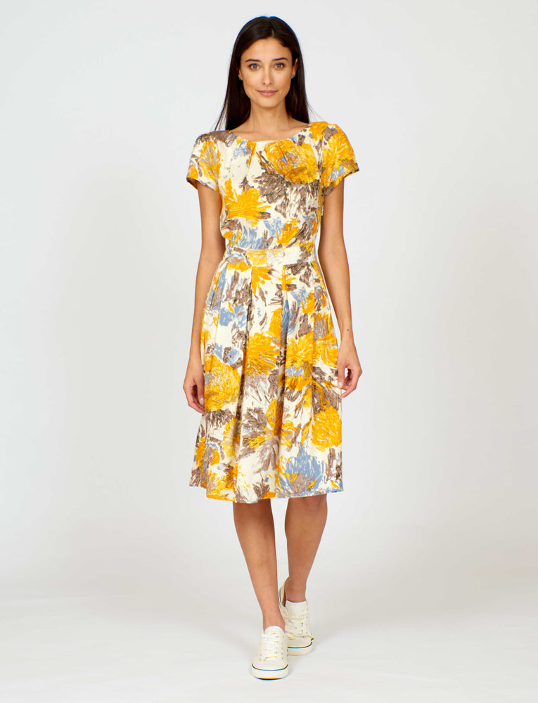 Swing Dress in Yellow Painted Flowers Print