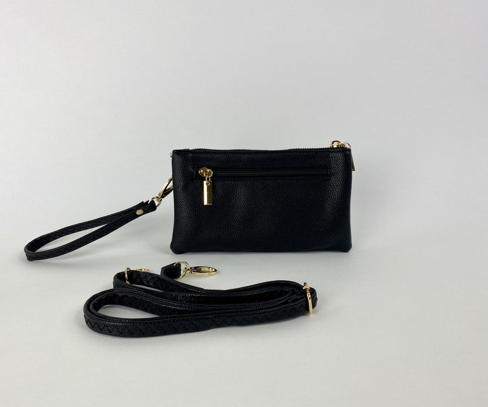 Pretty Vacant small black clutch bag in faux leather and gold zip - with adjustable strap