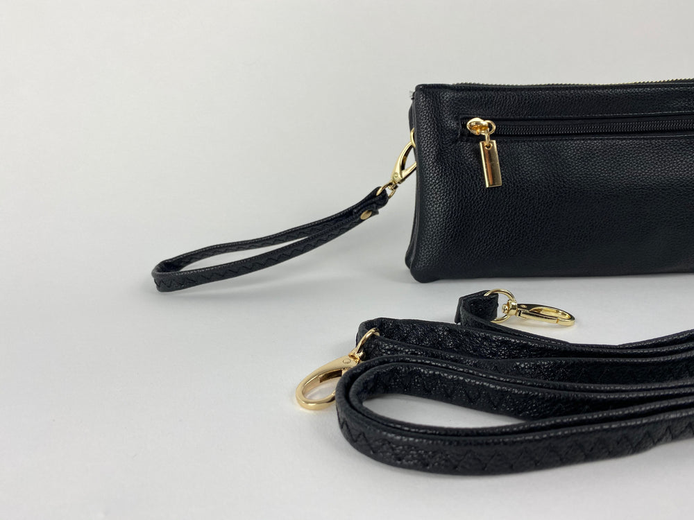 Pretty Vacant small black clutch bag in faux leather and gold zip