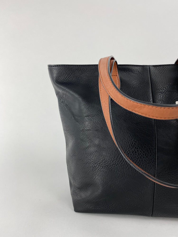 Pretty Vacant black tote bag - shoulder shopper bag with brown straps - closeup