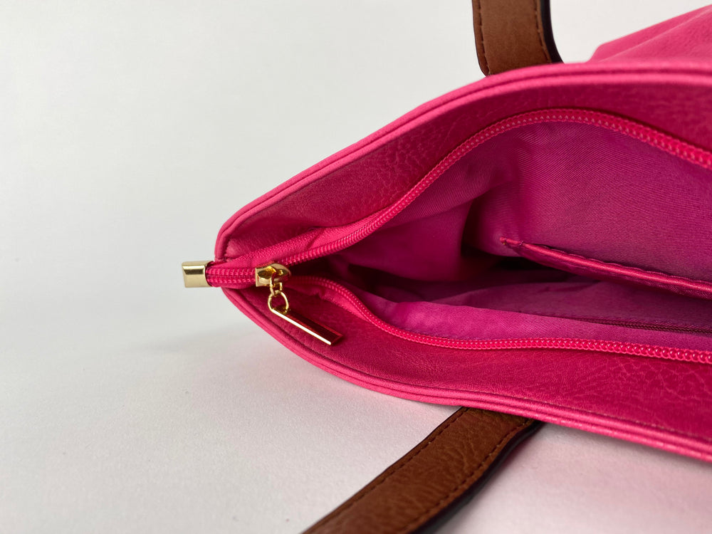 Pretty Vacant fuchsia / pink tote bag with brown handles - faux leather - secure zip