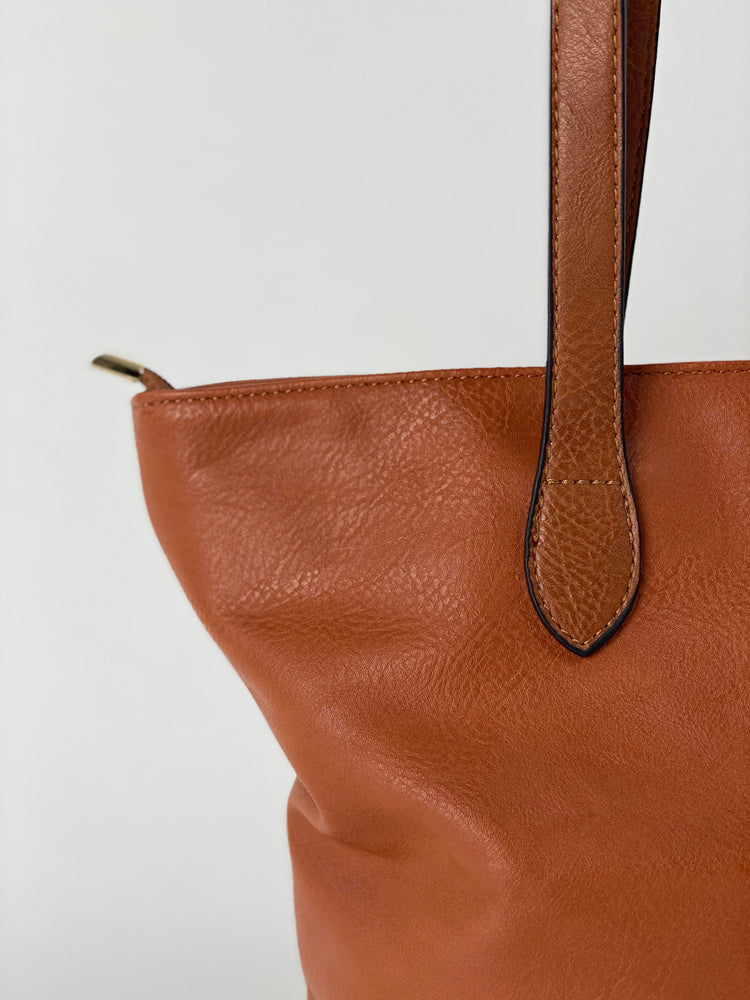 Pretty Vacant brown tote bag - shopper bag faux leather closeup