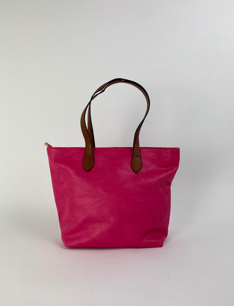 Pretty Vacant fuchsia / pink tote bag with brown handles - faux leather