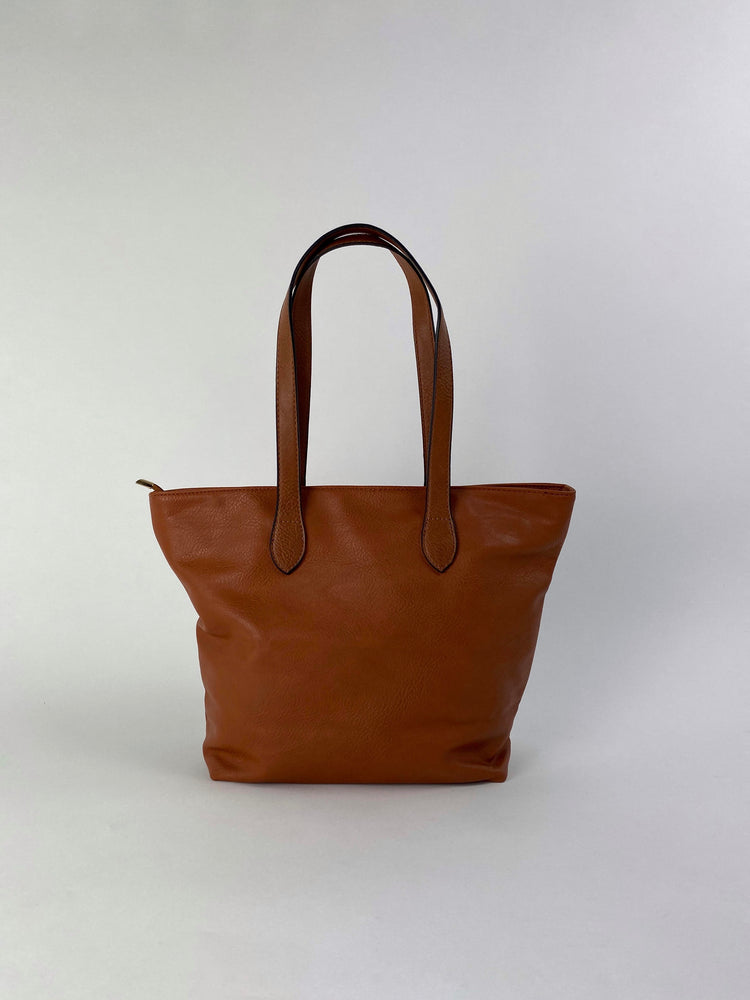 Pretty Vacant brown tote bag - shopper bag faux leather