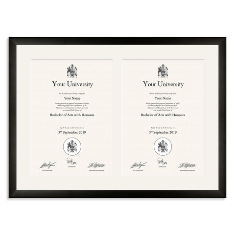 Black Wooden Double A4 Multi Aperture Certificate Frame