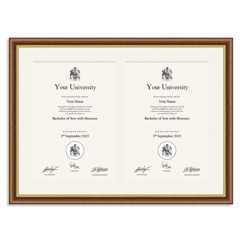 Mahogany and Gold Wooden Double A4 Multi Aperture Certificate Frame