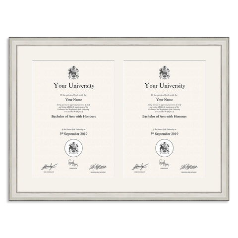 Silver Double A4 Multi Aperture Certificate Frame