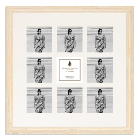 Image of a White Shabby Chic Photo Frame which holds nine 4x4inch photos
