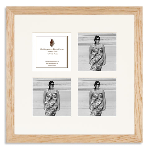 Image of a Solid Oak Photo frame to hold four 4x4inch photos