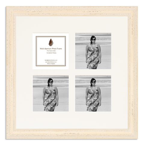 Image of a White Shabby Chic Photo Frame which holds four 4x4inch photos