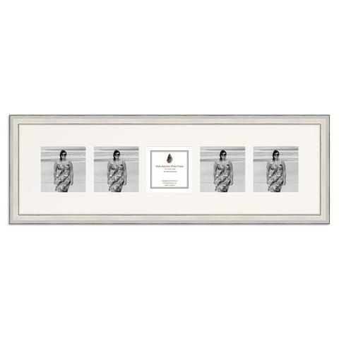 Image of a distressed Silver Photo Frame which holds five 4x4inch photos