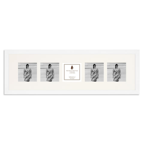 Image of a Matt White Photo Frame which holds five 4x4inch photos