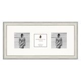 A distressed Silver photo frame which holds three 4x4inch photos