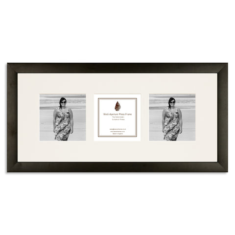 Image of a Matt Black photo frame which holds three 4x4inch photos