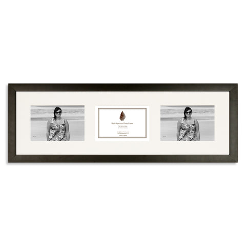 Image of Matt Black Photo frame which holds three 6x4inch photos