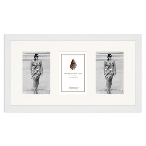 Image of a Matt White Photo Frame which holds three 6x4inch photos