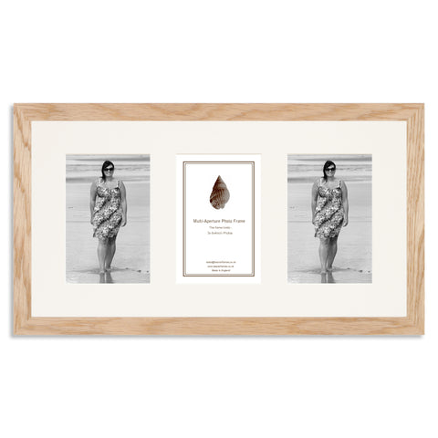 Image of a Solid Oak Photo Frame to hold three 6x4inch photos