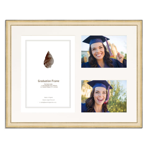 Gold Graduation Frame for A4 Certificate and two 7x5/5x7in Photos