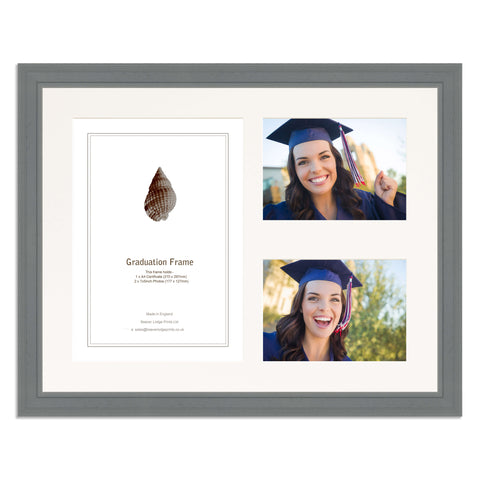Grey Graduation Frame for A4 Certificate and two 7x5/5x7in Photos