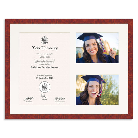 Real Walnut Veneer Wooden Graduation Frame for A4 Certificate and two 7x5/5x7in Photos