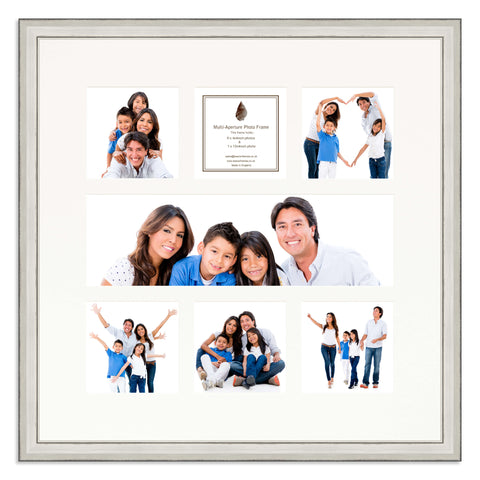 A distressed Silver photo frame with a 7 aperture mount ideal for photographic studios