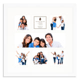 A Matt White photo frame with a 7 aperture mount ideal for photographic studios