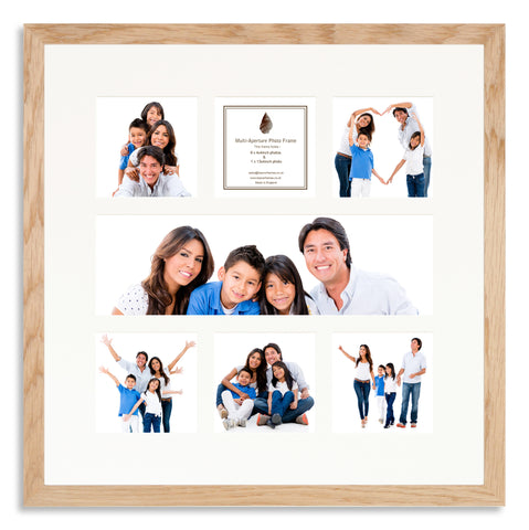 A Solid Oak photo frame with a 7 aperture mount ideal for photographic studios
