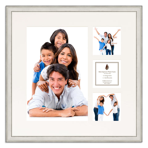 A distressed Silver photo frame with a 4 aperture mount ideal for photographic studios