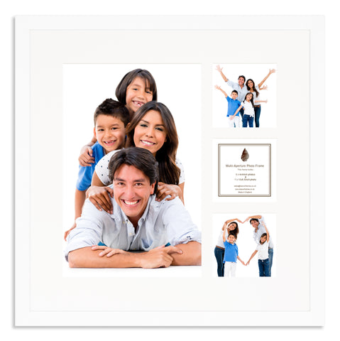 A Matt White photo frame with a 4 aperture mount ideal for photographic studios