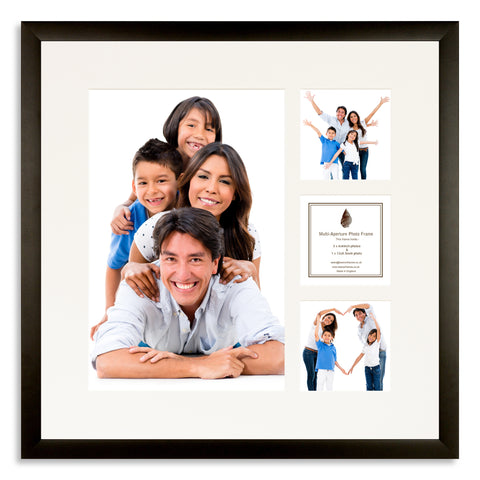 A Matt Black photo frame with a 4 aperture mount ideal for photographic studios