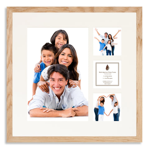 A Solid Oak photo frame with a 4 aperture mount ideal for photographic studios