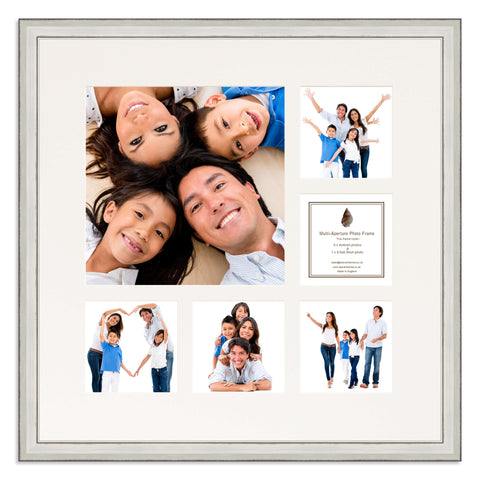 A distressed Silver Multi Aperture photo frame with a 6 aperture mount ideal for photographic studios