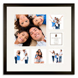 A Matt Black Multi Aperture photo frame with a 6 aperture mount ideal for photographic studios