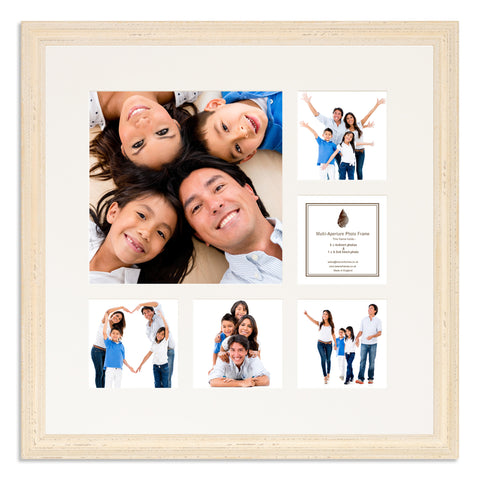 A White Shabby Chic Multi Aperture photo frame with a 6 aperture mount ideal for photographic studios