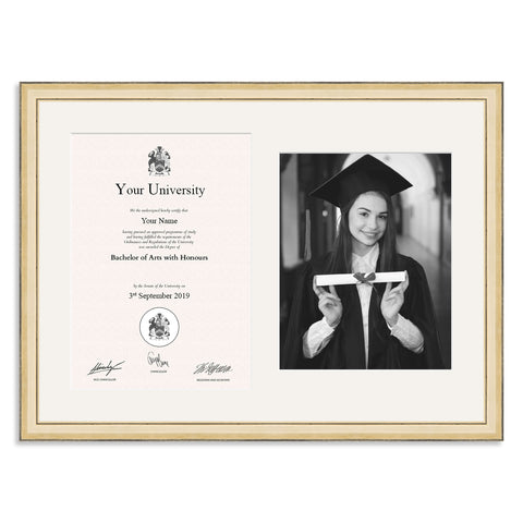 Wooden Graduation Frame - Gold - A4 Certificate & 8x10/8x10in Photo