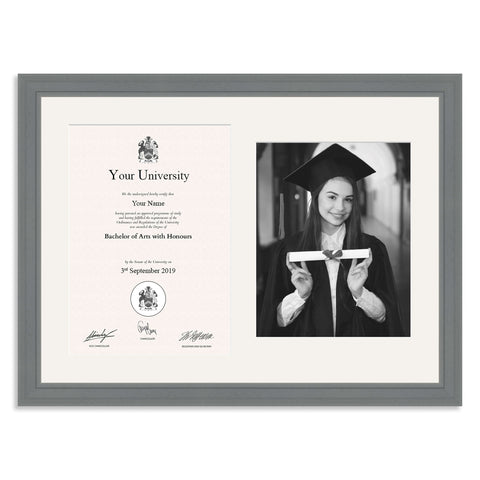 Wooden Graduation Frame - Grey - A4 Certificate & 10x8/8x10inch Photo