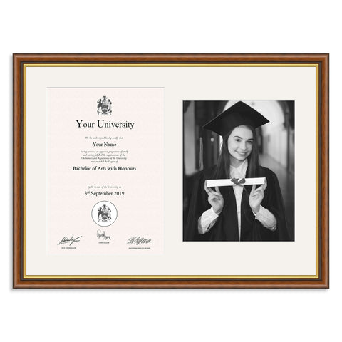 Wooden Graduation Frame - Mahogany and Gold - A4 Certificate & 10x8/8x10in Photo