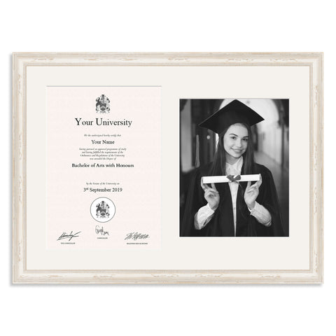 Wooden Graduation Frame - White Shabby Chic - A4 Certificate & 10x8/8x10in Photo