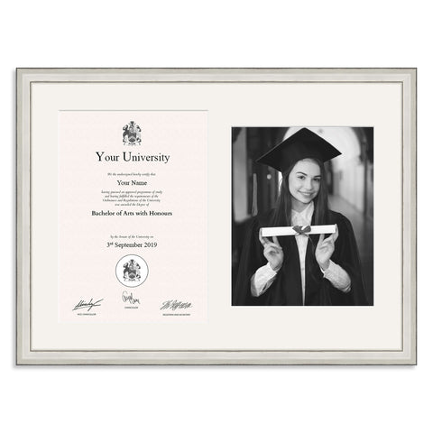 Wooden Graduation Frame - Silver - A4 Certificate & 10x8/8x10inch Photo