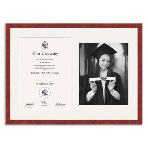 Wooden Graduation Frame - Real Walnut Veneer - A4 Certificate & 10x8/8x10in Photo