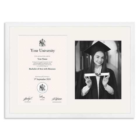Wooden Graduation Frame - White - A4 Certificate & 10x8/8x10in Photo