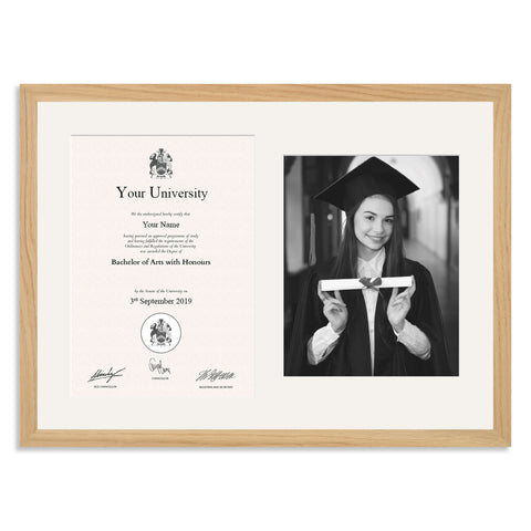 Wooden Graduation Frame - Solid Oak - A4 Certificate & 10x8/8x10in Photo